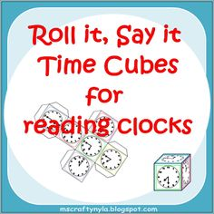 Cubes for telling time on the hour, at half hour intervals, quarter hour intervals and five minute intervals. #math $