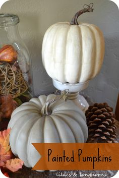 Turn plastic pumpkins in to show stoppers by painting them with chalk paint and antiquing wax.