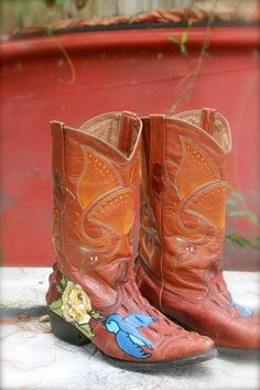 Vintage Hand painted Boots Bluebird of by amandarosebridal on Etsy, $100.00