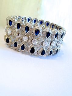 Vintage Sterling Silver  Blue Sapphire
