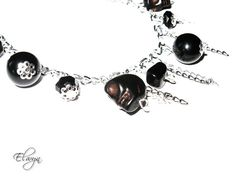 Skull Bracelet  Black Gothic Chain Charm Bracelet by ElwynJewelry, $13.00
