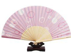 Folding Fan, Silk Hand Fan - Pink with Rose Printed, Gift Idea
