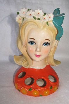 "VTG RETRO 60'S 70'S INARCO 6"" LADY TEEN HEADVASE 4 HOLE LIPSTICK HOLDER"