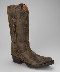 Take a look at this Brown & Black Leather T-Toe Distressed Western Boot - Women by Johnny Ringo Boots on #zulily today!