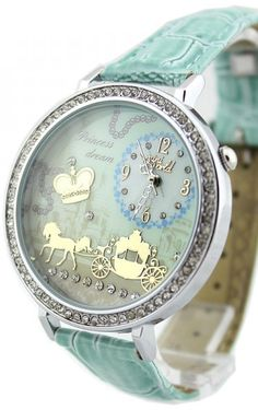 Fairy tale fashion - Princess dream.. baby blue horse drawn carriage watch