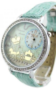 Fairy tale fashion - Princess dream.. baby blue horse drawn carriage watch