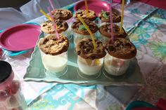 Individual Milk And Cookies Dessert For Birthday Parties