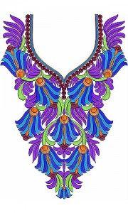 Fashion Motif Neck #Embroidery Design