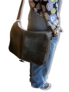 Extra Large Recycled Rubber Tire Flap Messenger Bag by Taraluna.