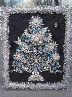 Vintage OOAK Framed Costume Jewelry Christmas Tree Rhinestone Art by Michelle | eBay $149