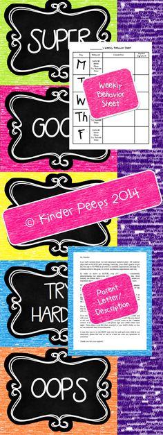 SUPER CUTE chalk-sketched themed behavior clip chart, weekly behavior sheet, and parent letter from Kinder Peeps! Similar to Kinder Peeps' polka dot themed behavior bundle!
