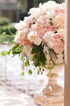 Elegant Shades of Blush (year round) Floral Pillar Centerpiece