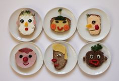 Funny faces made with food