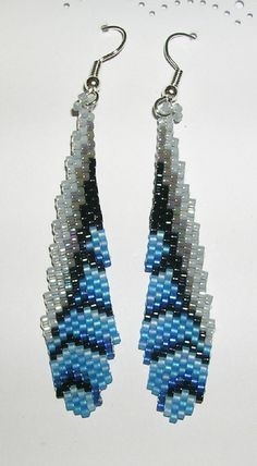 Small Blue Jay Feather Earrings