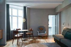 Hotel SP34, Copenhagen, Gray Walls, Chairs, Seating, Tables, Lighting