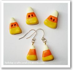 Polymer Clay Candy Corn Earrings! from holiday-crafts-and-creations.com! holiday, candi corn, button earrings, candy corn, candies, halloween crafts, clay charms, charm earring, halloween art projects