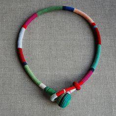 multicolored crochet necklace