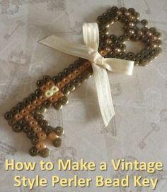 How to Make an Antique or Vintage Style Perler Hama Fused Bead Key Fun Craft, Hama Bead Key, Fuse Bead, Perler Beads, Hama Bead Patterns