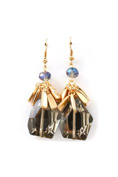 Kimmie Earrings in Black Diamond Crystal