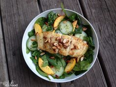 halibut with peach salad with lemon mint vinaigrette adapted from Cooking Light  http://www.agirlandherfood.com/2014/06/cooking-lights-halibut-peach-salad-with.html