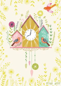 Bethan Janine - cuckoo child room, birdhouses, books, art paintings, illustrations, cuckoo, children, book covers, clocks