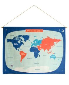 world map wallhanging blue and red