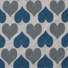 Argyle Heart Print on Gray Cotton Jersey Knit Fabric
