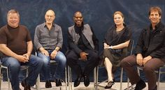 All Five Star Trek Captains Together for the First Time nerd, geeki, trek captain, stars, deep space, startrek, geeks, chris pine, star trek