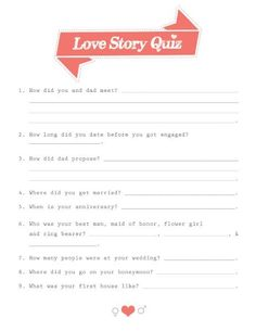 Let your kids take this Mom and Dad Love Story Quiz to share with them the joy of falling in love, what real love is, and what a true commitment is. #lovestory #printable