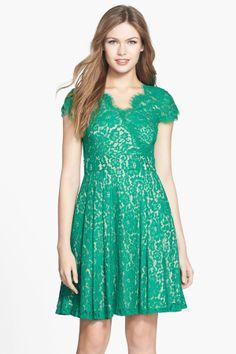 Eliza J   Eliza J Short Sleeve Lace Fit  Flare Dress
