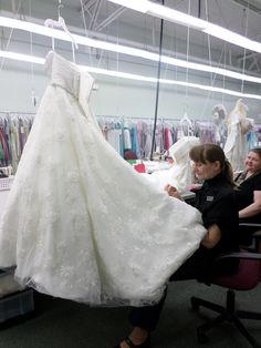 Our on-site Alterations Department in action! At Catan Fashions, the country's largest bridal salon. Located just minutes from Cleveland Hopkins Airport. www.catanfashions.com