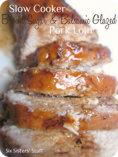Slow Cooker Brown Sugar Balsamic Glazed Pork Loin from SixSistersStuff.com.  The meat is so moist, it just falls apart! #recipes #slowcooker