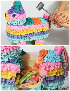 Pinata smash cake with rainbow cake and real pinata smash section Bubble and Sweet