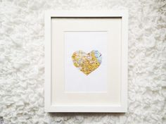 You can DIY this map heart art in 5 minutes.