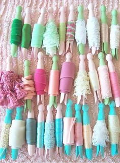 Paint Clothes Pins In Soft Wonderful Pastels and Use for All Of Your Trim! I love crafty storage!