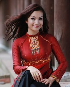 Áo dài quý bà - CM220   And you will be love this dress copper red and black pants all In one set, perfect :)