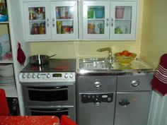 Doll House Kitchen view 2. The cabinets are from Hobby Lobby. The appliances are from NecessaryExtras.com