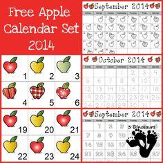 FREE Apple Calendar Set Pattern Set, Regular Set and Single Page Calendar - 3Dinosaurs.com