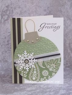 Cute ornament card using circle punch, tab punch, and snowflake punch.