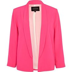 River Island Pink Scalloped Hem Blazer ❤ liked on Polyvore