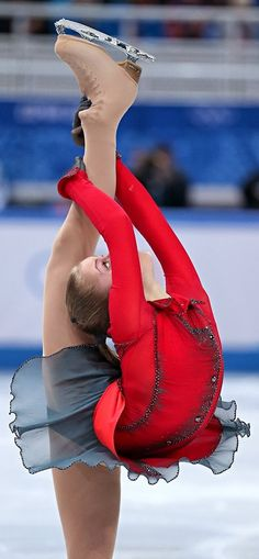 Here we see Yulia Lipnitskaya doing her,Figure Skating routine  for the 2014 Winter Olympics at Sochi.