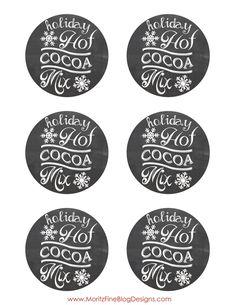 Holiday Hot Cocoa Mix Chalkboard Label | Free Printable | easy DIY gift Idea | www.MoritzFineBlogDesigns.com