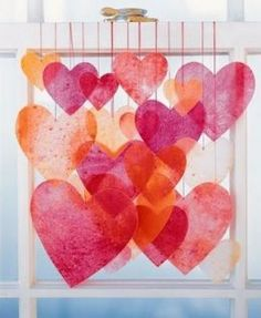 Melted crayon hearts