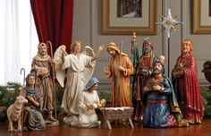 First Christmas Gifts Nativity Set  Each King's box opens to display   the REAL gifts!  11 piece set with REAL gifts of Gold, Frankincense and Myrrh from the Three Wisemen! Available at www.catholicsupply.com for $139.95