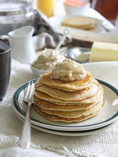 Coconut ricotta pancakes with caramelized banana creme fraiche butter by Runningtothekitchen, via Flickr