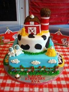 Barnyard animal cakes, and barnyard animal cupcakes are perfect for any barnyard themed birthday party. I recently had to make a barnyard cake,....