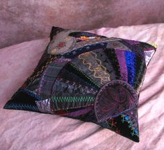 Crazy Quilt Pillow Black with Embroidered Stitchwork by rotarydial