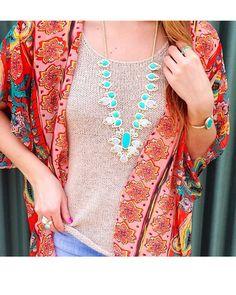 Tedi Long Necklace in Teal Mosaic - Kendra Scott Jewelry
