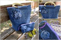 Handbag set refashioned from jeans ~ Ana Love Craf
