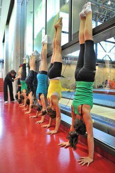 Handstands in college gymnastic class, HSU
